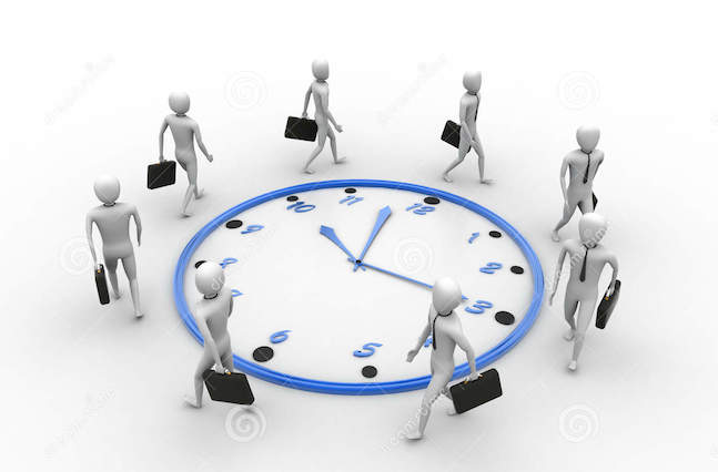 working around-clock-white-background