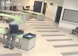 security guard catches baby